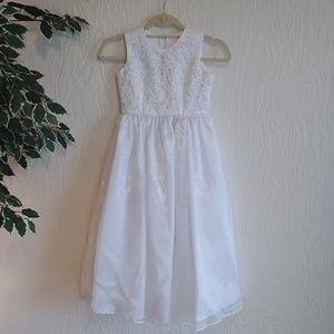 Kids flower girl first communion white fancy dress